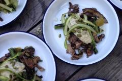 Hodge & Huggett Leek,  Wild mushrooms and asparagus