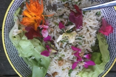 Hodge & Huggett Baked Rice with edible flowers