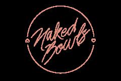 Naked Bowls pink writing